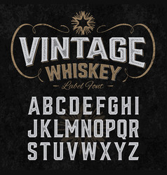 Vintage whiskey label font with sample design vector