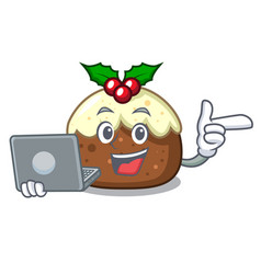 With laptop fruit cake character cartoon vector