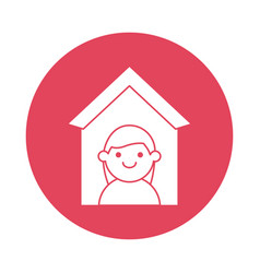 woman in house silhouette block style icon vector image