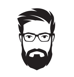 bearded mans face hipster character fashion vector image vector image