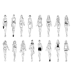 Fashion models shows everyday outfits sketch icons vector image vector image