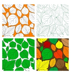 Set of seamless leaves background vector image