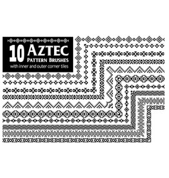 Aztec pattern brushes collection vector
