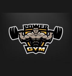 bodybuilding gym logo emblem vector image vector image
