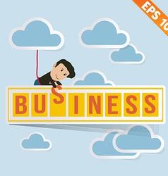 Cartoon Businessman with business billboard - vector image vector image