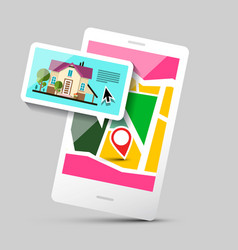 House icon on mobile phone application gps vector