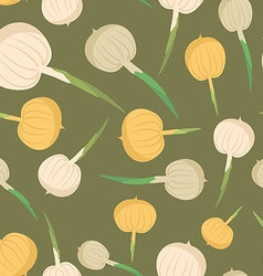 Onion seamless pattern Vegetable onion background vector image