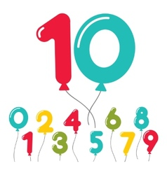 Set of birthday party balloon numbers vector image vector image