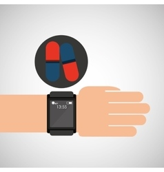 smart watch medical service pill medicine vector image