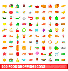 100 food shopping icons set cartoon style vector image vector image