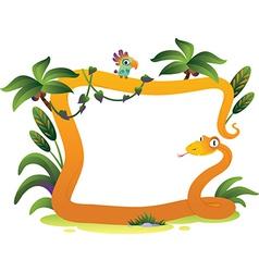 Cartoon frame snake on the white background vector image