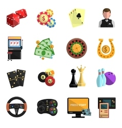 Casino gambling games flat icons set vector image