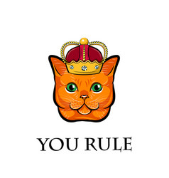 cute cat face with crown cat king vector image