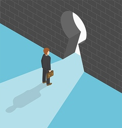 Isometric businessman standing in front of big key vector image