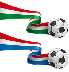 italy and france flag with soccer ball vector image