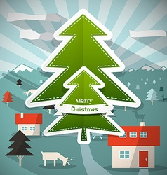 Merry Christmas Cartoon with Paper Trees - D vector image