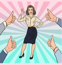 pop art successful business woman gesturing ok vector image vector image