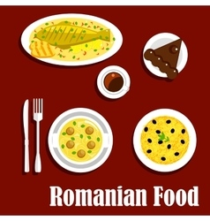Romanian dinner with dessert flat icon vector
