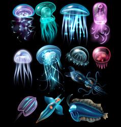 underwater animals icon set vector image