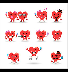 valentines day couple heart emoji set vector image