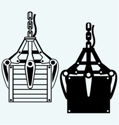 Crane mechanical hand and wooden box vector image