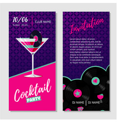 dance party invitation for nightclub with vinyl vector image vector image