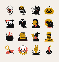 Halloween cartoon icon set vector