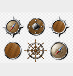 set of steel and wooden nautical elements vector image vector image