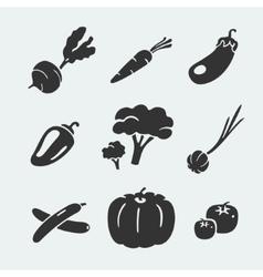 Set of symbols vegetables vector image