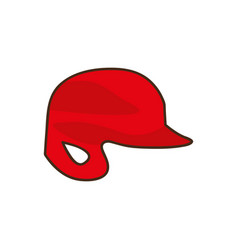 silhouette color with baseball helmet vector image
