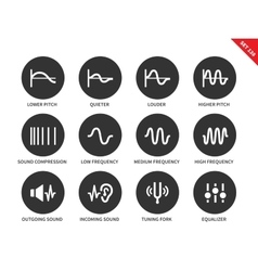 Sound waves icons on white background vector image