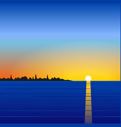 Sunset sea landscape vector image vector image