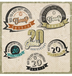 Vintage 20 anniversary collection vector image vector image