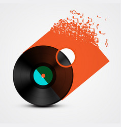 Vinyl record lp with transparent cover made from vector