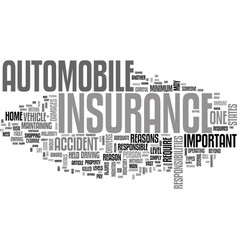 Why is auto insurance important text word cloud vector