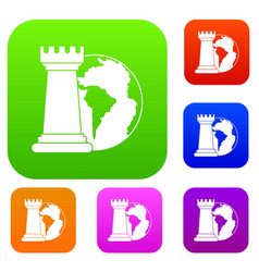 world planet and chess rook set color collection vector image vector image