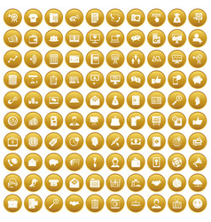 100 viral marketing icons set gold vector