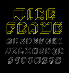 3d wireframe font alphabet vector image