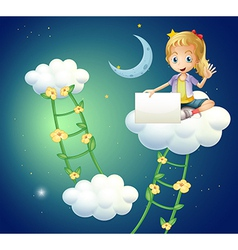 A girl sitting above a cloud holding an empty vector image
