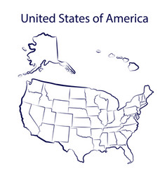 all states america territory stylized vector image