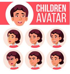 asian girl avatar set high school face vector image