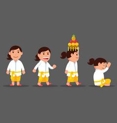 Bali girl cute cartoon character set vector
