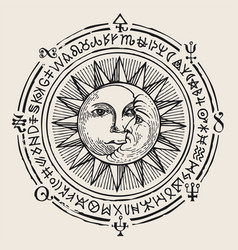 Banner with hand drawn sun moon and magic signs vector