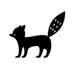 black fox silhouette vector image