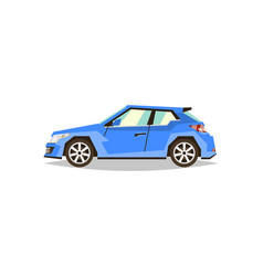 Blue car hatchback side view transport for vector