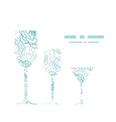 Blue line art flowers three wine glasses vector