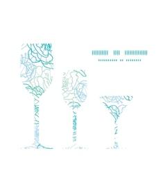 Blue line art flowers three wine glasses vector