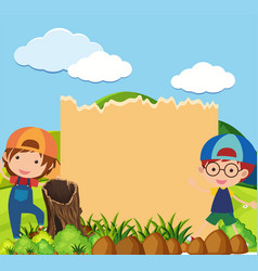 Border template with two boys in park vector