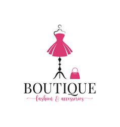boutique fashion logo mannequin dress and handbag vector image
