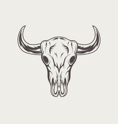 bull skull vintage engraved monochrome logo vector image